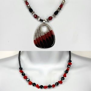 Jewelry - 2 Black & Red Beaded Pendant Necklace Bundle Set